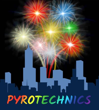 pyrotechnics: Pyrotechnics Over City Silhouette Meaning Festive Party Fireworks Stock Photo
