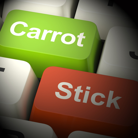 enticing: Carrot Or Stick Keys Shows Motivation By Incentive 3d Rendering
