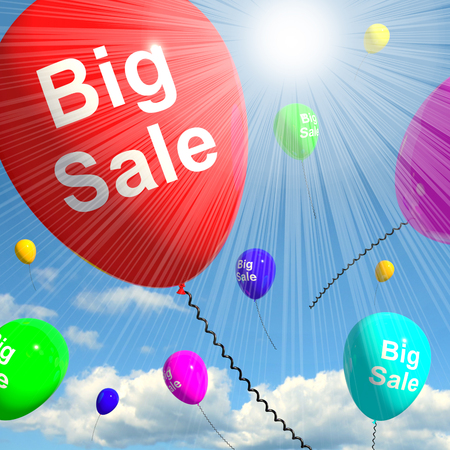 Big Sale Balloons In Sky Shows Promotions Discounts 3d Rendering