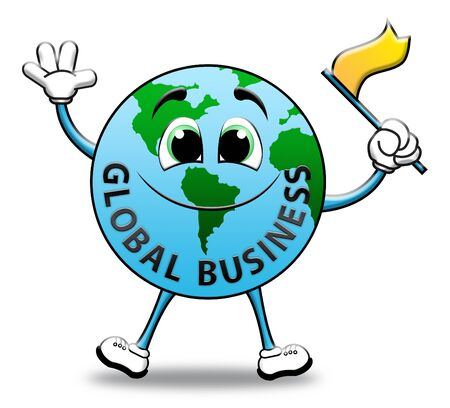 globally: Global Business Globe Character Indicates Commercial Corporate 3d Illustration Stock Photo