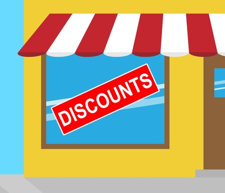 closeout: Discounts Sign In Shop Window Indicating Promotional Closeout 3d Illustration