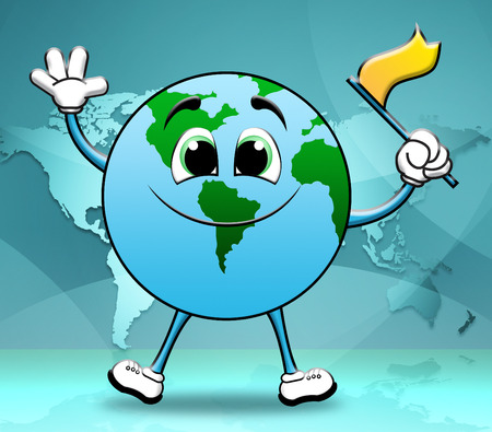 globally: Global Globe Character Showing World Globalization 3d Illustration Stock Photo