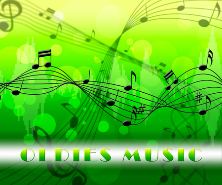 oldies: Oldies Music Floating Notes Means Classics From The Past