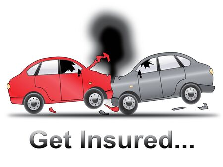 insured: Get Insured Crash Shows Car Policy 3d Illustration Stock Photo