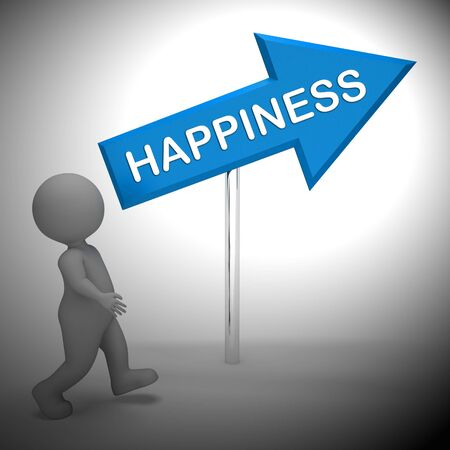 cheerfulness: Happiness Arrow Sign Shows Joy And Cheer 3d Rendering
