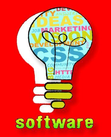 shareware: Software Lightbulb Words Representing Browsing Programs 3d Illustration