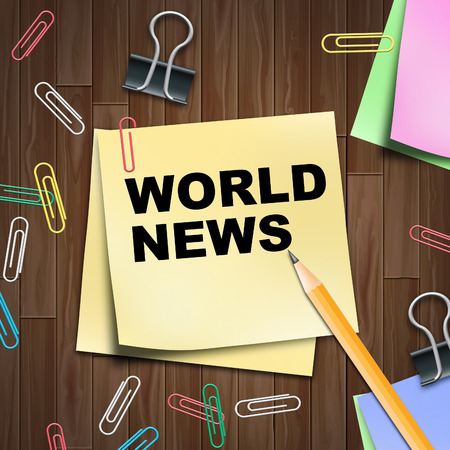 world news: World News Notepad Indicating Global Newsletter 3d Illustration Stock Photo