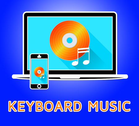 keyboard music: Keyboard Music Laptop And Phone Means Piano Audio 3d Illustration Stock Photo