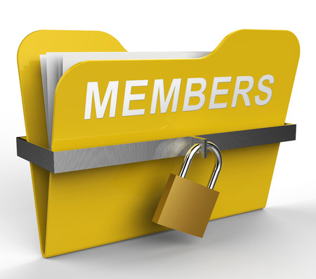 subscribing: Members Folder With Padlock Represents Join Up 3d Rendering