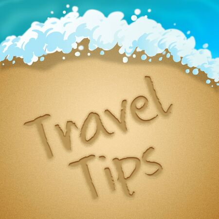hints: Travel Tips Beach Sand Indicates Tour Hints 3d Illustration Stock Photo
