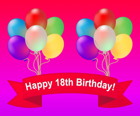 Happy Eighteenth Birthday Balloons Meaning 18th Party Celebration 3d Illustration