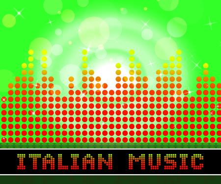 Italian Music Graphic Equalizer Indicates Sound Track And Songs