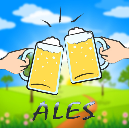 Ales Beer Glasses Shows Public House And Taverns