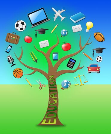 Education Tree With Icons Means Graduate Learning 3d Illustration