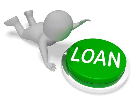 borrowing: Loan Character Pushing Button Represents Borrowing Credit 3d Rendering Stock Photo