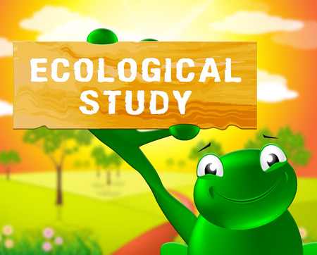 Frog With Ecological Study Sign Shows Eco Review 3d Illustration Stock Photo