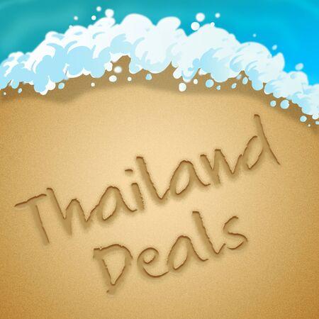 bargaining: Thailand Deals Beach Sand Shows Thai Holidays 3d Illustration