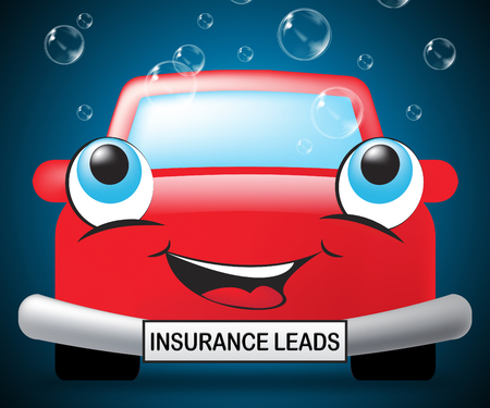 leads: Insurance Leads Smiling Vehicle Showing Policy Prospects 3d Illustration Stock Photo