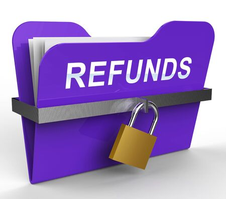 refunds: Refunds Folder With Padlock Means Money Back 3d Rendering Stock Photo