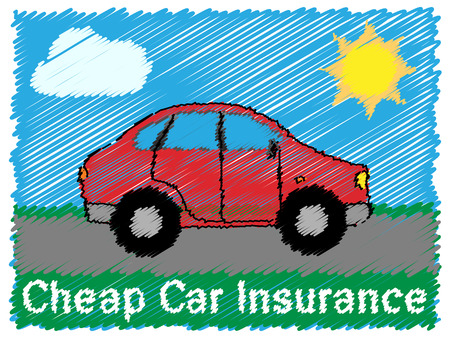 Günstige Kfz-Versicherung Straße Skizze bedeutet Auto-Politik 3d Illustration