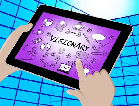 ambitions: Visionary Icons Tablet Representing Insights Strategist And Ideals 3d Illustration