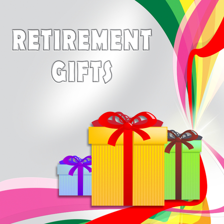 retiring: Retirement Gifts Giftboxes Shows Retiring Presents 3d ILlustration Stock Photo