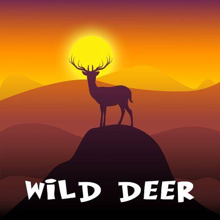 Wild Deer Mountain Scene Shows Stag Wildlife 3d Illustration