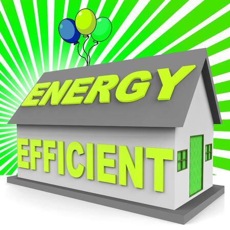 efficacy: Energy Efficient House With Balloons Representing Home 3d Rendering