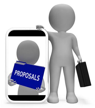 programme: Proposals Folder Phone Indicating Document Administration 3d Rendering
