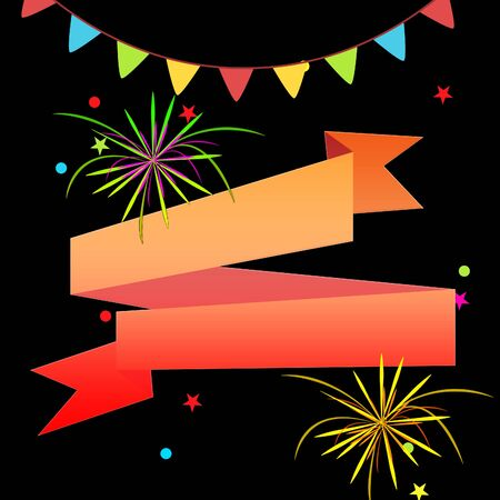 copyspace: Blank Ribbon And Fireworks Shows Invitation With Copyspace 3d Illustration