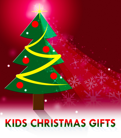 kids christmas gifts tree scene means xmas presents 3d illustration stock photo