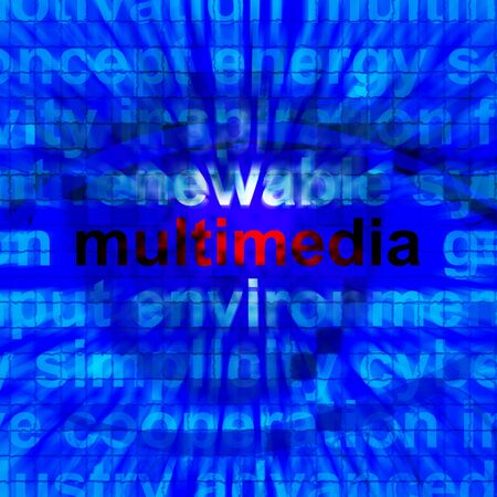broadcasting: Multimedia Word Showing Digital Technology For Movies Or Broadcasting 3d Illustration