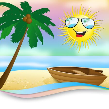 3d boat: Tropical Beach With Boat Shows Smiling Sun 3d Illustration Stock Photo
