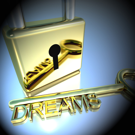 envision: Padlock With Dreams Key Showing Wishes Hopes And Future 3d Rendering