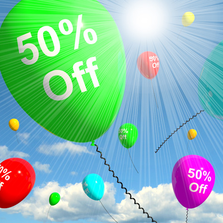 Balloon With 50% Off Shows Sale Discount 3d REndering