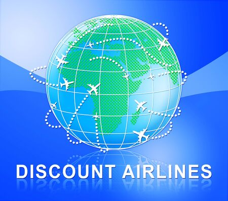 Discount Airlines Globe Shows Special Offer Flights 3d Illustration