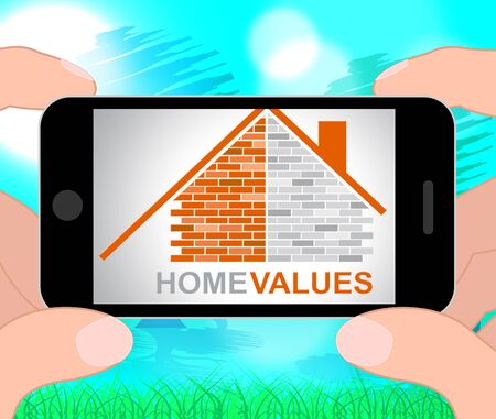 valued: Home Values Phone Indicating Selling Price And Cost 3d Illustration