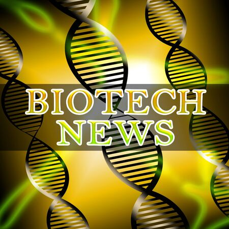 Biotech News Helix Shows Biotechnology Media 3d Illustration Stock Photo