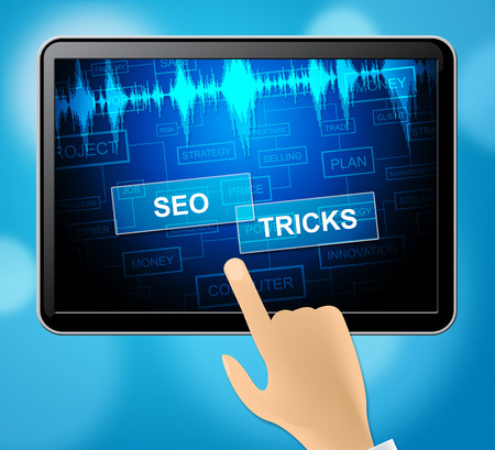 Seo Tricks Tablet Showing Search Engine And Seo 3d Illustration Stock Photo