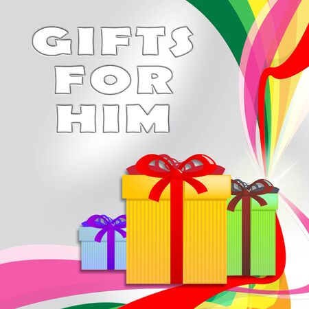 him: Gifts For Him Giftboxes Shows Present For Man 3d Illustration Stock Photo