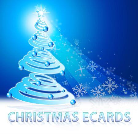 Christmas Ecards Tree Scene Shows Xmas Cards 3d Illustration