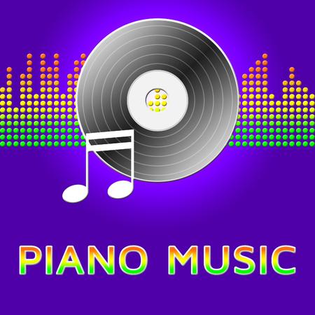 Piano Music Record Disc  Represents Sound Tracks 3d Illustration Stock Photo