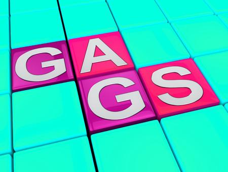 Gags blocks Meaning Joke Humour 3d Illustration