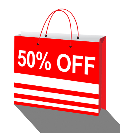 Fifty Percent Off Shopping Bag Showing Sale 50% 3d Illustration