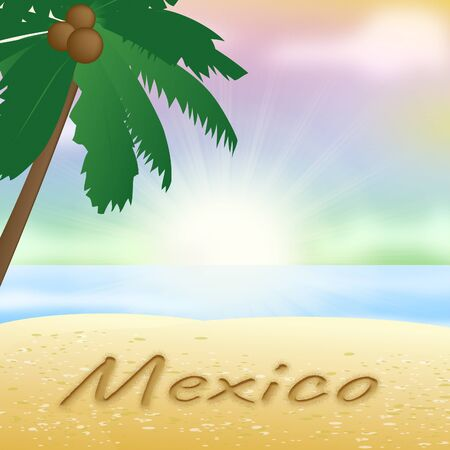 Mexico Beach With Palm Tree Holiday Meaning Sunny 3d Illustration Stock Photo