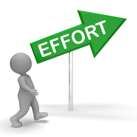 slog: Effort Arrow Sign Shows Hard Work 3d Rendering