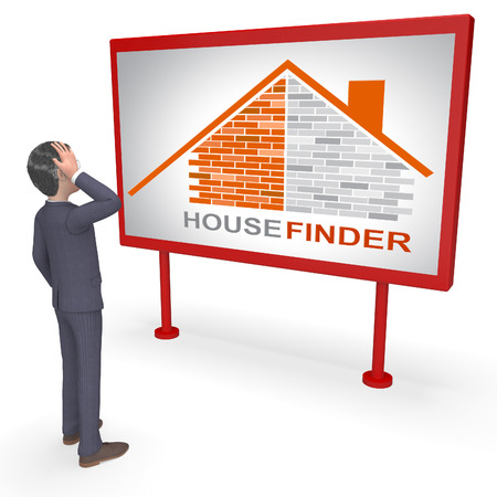 finders: House Finder Sign Indicating Search For And Household 3d Rendering