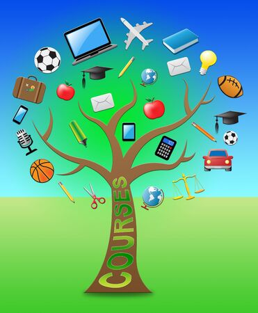 Courses Tree With Icons Indicates Programme And Syllabus 3d Illustration Stock Photo