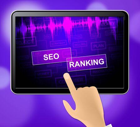 optimizing: Seo Ranking Tablet Showing Search Engine And Optimizing 3d Illustration Stock Photo