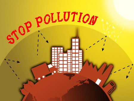 Stop Pollution Around City Means Warning Of Contaminating 3d Illustration Stock Photo